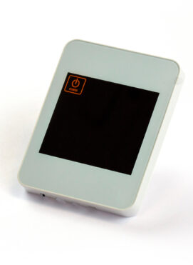 Pearl White Touch Screen Thermostat Underfloor Heating Side Angle