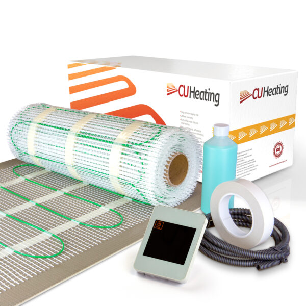 200W/m2 Electric Underfloor Heating Mat Kit - Comfort Underfloor Heating with White Touch Screen Thermostat