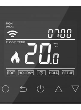 Onyx Black Touch Screen Thermostat Underfloor Heating