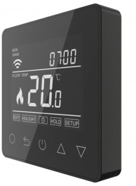 Onyx Black Touch Screen Thermostat Underfloor Heating Side Angle